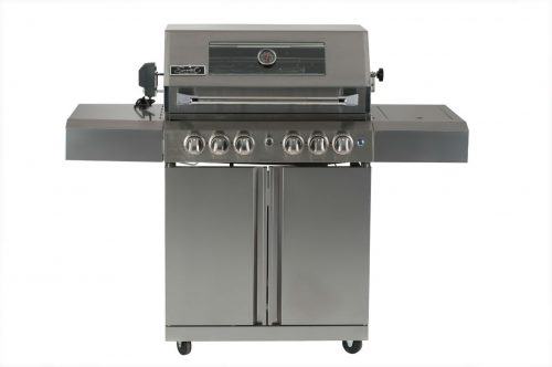 Smart 4 Burner Trolley BBQ with Transparent Window within Enclosed Hood