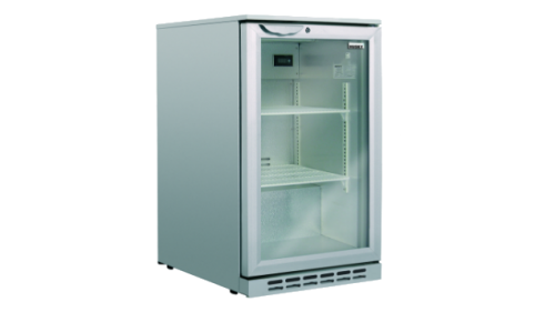 Husky 118L single door back bar fridge silver
