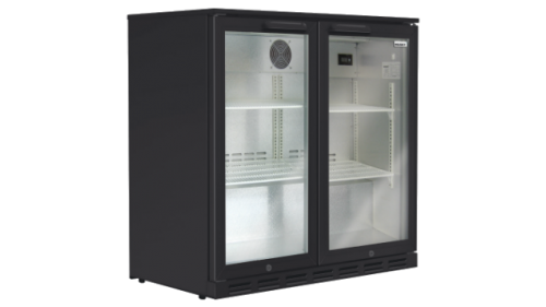Husky 190L double door back bacr fridge black