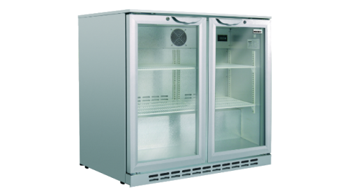 Husky 190L double door back bar fridge silver