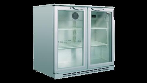 Husky 190L double door back bar fridge silver