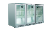 Husky 307L triple door back bar fridge silver