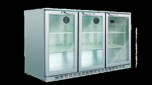 Husky 307L triple door back bar fridge silver